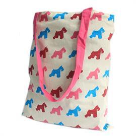 Bolsa de Mano Grande de Algodón Perro Rosa 34X41cm
