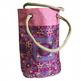 Bolso de Compras de Yute Barril Alpana Rosa 38x37cm