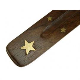 Soporte Incienso Madera Estrella 25cm