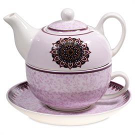 Juego de Té Tazá y Tetéra Mandala Púrpura
