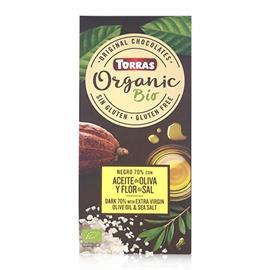 Chocolate Orgánico Negro 70 % Cacao Aceite de Oliva y Sal Bio 100g