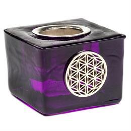 Cubo Portavelas de Vidrio con Flor Púrpura de la Vida
