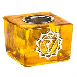 Cubo Portavelas de Vidrio Chakra del Plexo Solar