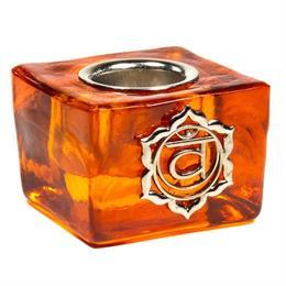 Cubo Portavelas de Vidrio Chakra del Sacro