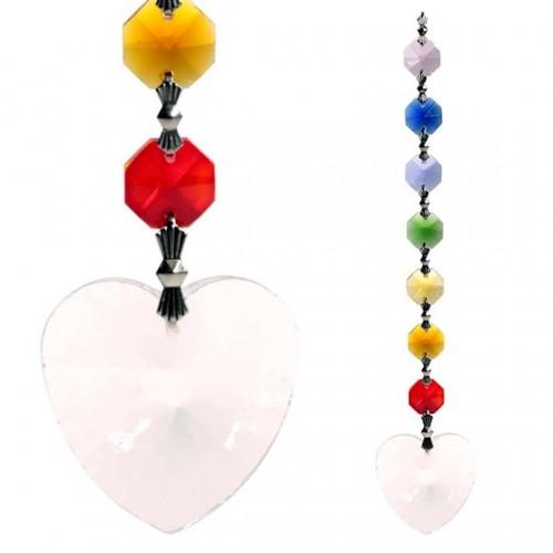Colgante de Cristal Feng Shui 7 Chakras Corazón 20cm