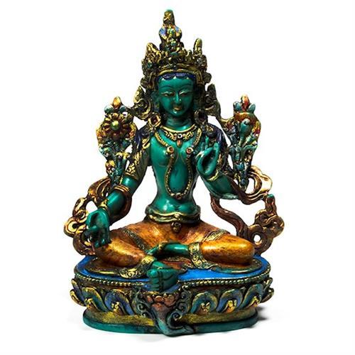 Estatua Tara Verde Pintada 18x8x15 cm