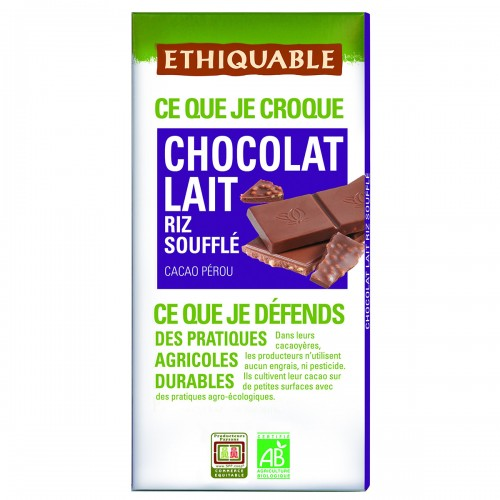Chocolate con Leche y Arroz Inflado Bio 100g