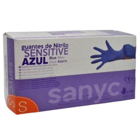 Guante de Nitrilo Sanyc Sensitive Azul Talla Extra Pequeña 100uds