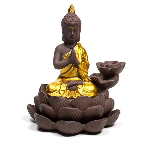 Quemador de Incienso de Cascada con Buda