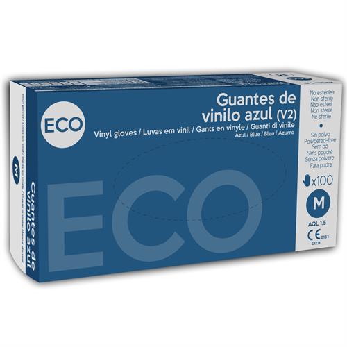 Guantes de Vinilo Eco Azul Talla Mediana 100uds