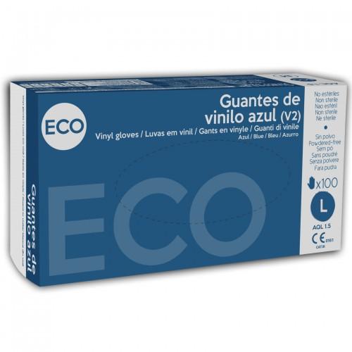 Guantes de Vinilo Eco Azul Talla Grande 100uds
